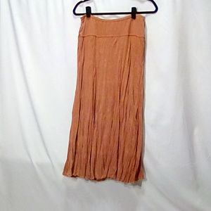 Carole Little Size L crinkle knit midi skirt peach